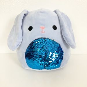 Squishmallows Buttons Blue Easter Bunny Sequin New